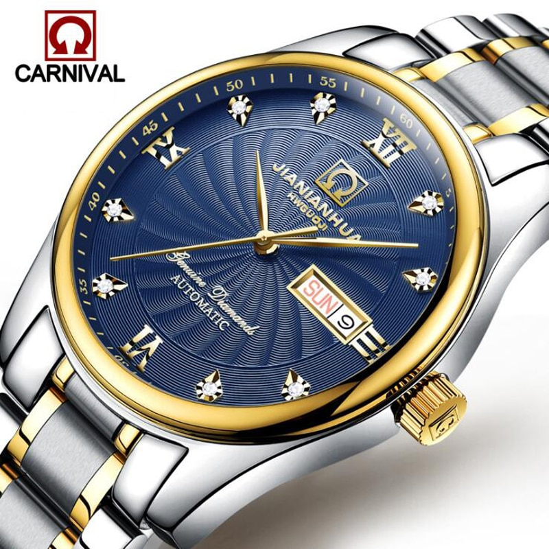 CARNIVAL New Fashion Business Watch Blue Dial Diamond Watch Waterproof Stainless Steel Band Automatic Mechanical Men's Watches