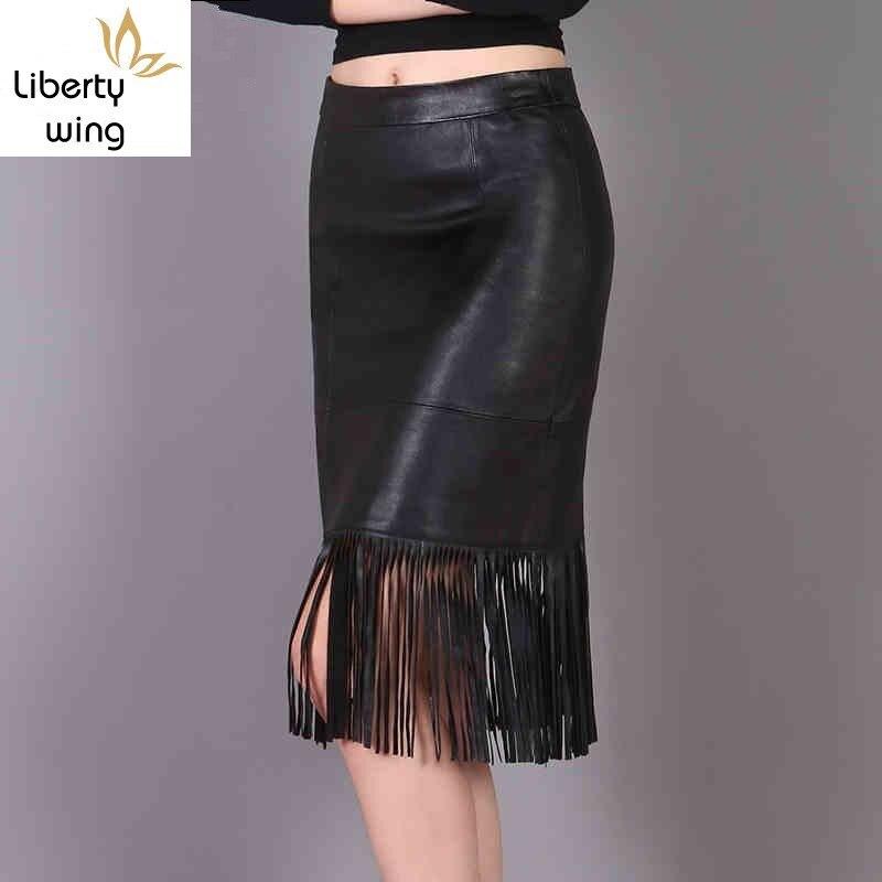 אביב חדש אופנה נשים ציצית הברך אורך חצאיות אמיתי עור Streetwear מקרית מוצק Blak טבעי כבש גבוהה מותניים
