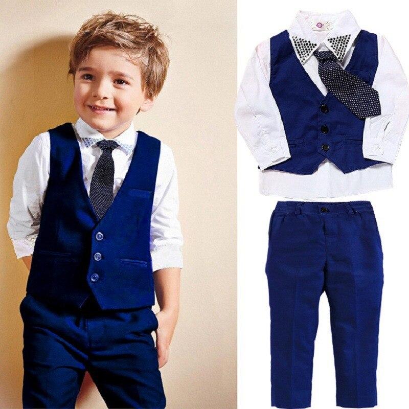 4 Pcs Set Autumn Children's Leisure Clothing Sets Baby Boy Clothes Vest Gentleman Suit for Weddings