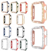 case for apple watch 44mm 40mm 42mm 38mm bling hard pc double row crystal diamond plated cover shockproof bumper protective