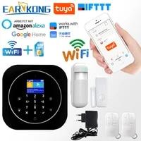 Systeme dalarme de securite domestique intelligent  wi-fi  GSM  433MHz  avec detecteurs  Compatible avec Alexa Google Home  IFTTT  application Tuya
