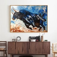 paintings for interior bull abstract animal prints on canvas home room decor canvas picture frameless wall art