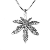 fashion alloy maple leaf necklace hemp leaf pendant necklace for women men gifls personality punk jewelry accessories