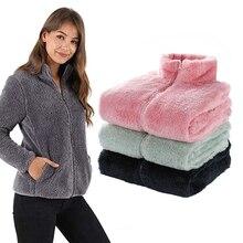 Snailify Women Fluffy Yarn Fleece Full Zip Jacket Men Winter Fleece Coat With High Neck Adult Double