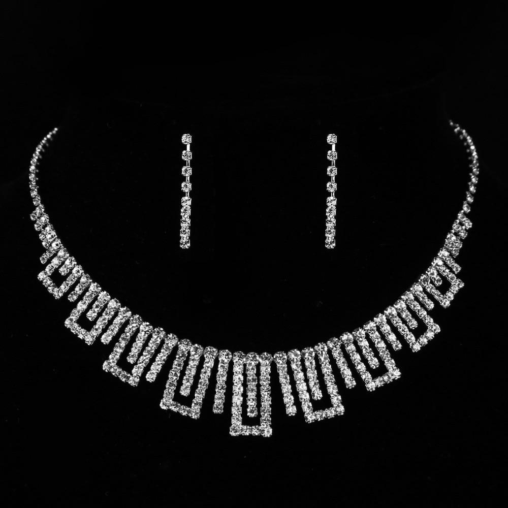 Cشو195 موضة زفاف لامعة الزركون طقم مجوهرات الفضة مطلي الجوف كريستال قلادة طقم من الحلقان سلسلة
