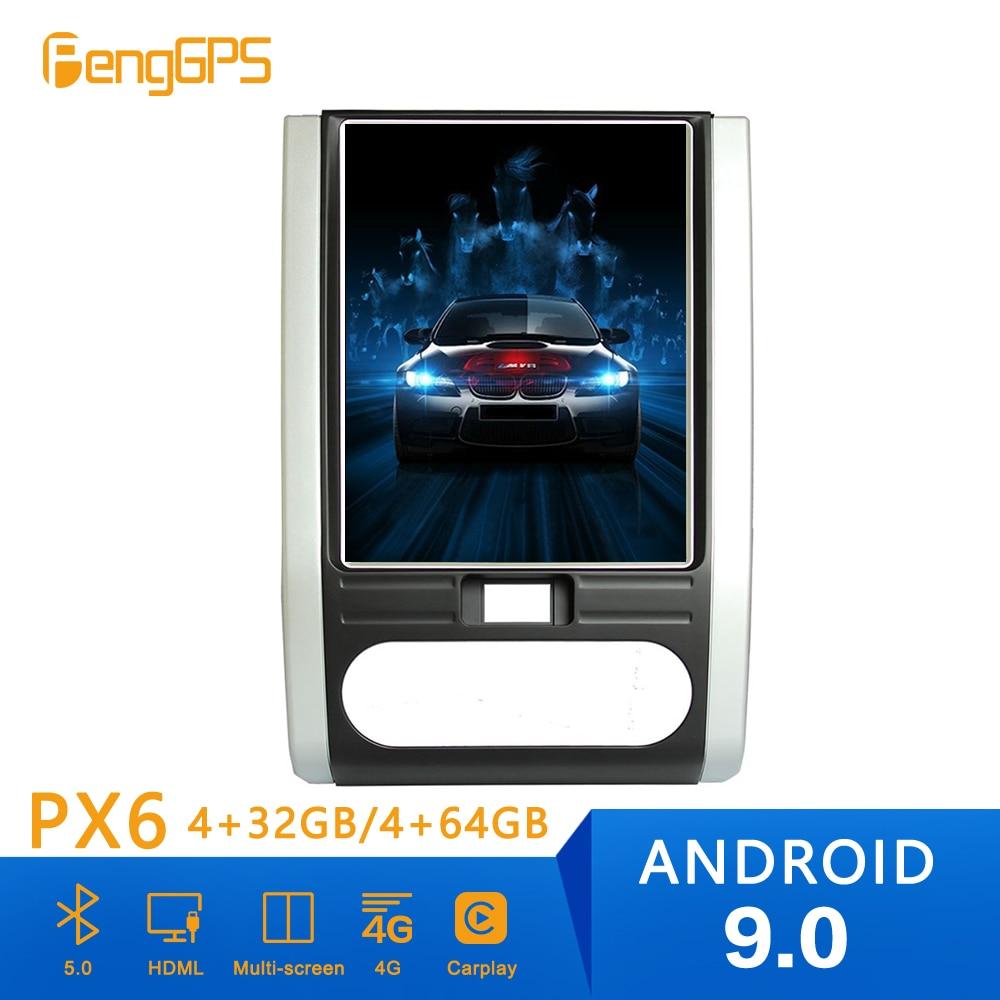 Estilo Tesla reproductor de Radio para coche PX6 Android 9,0 con navegación GPS para Nissan x-trail Qashqai 2007 +, reproductor de DVD estéreo para coche, Unidad Central
