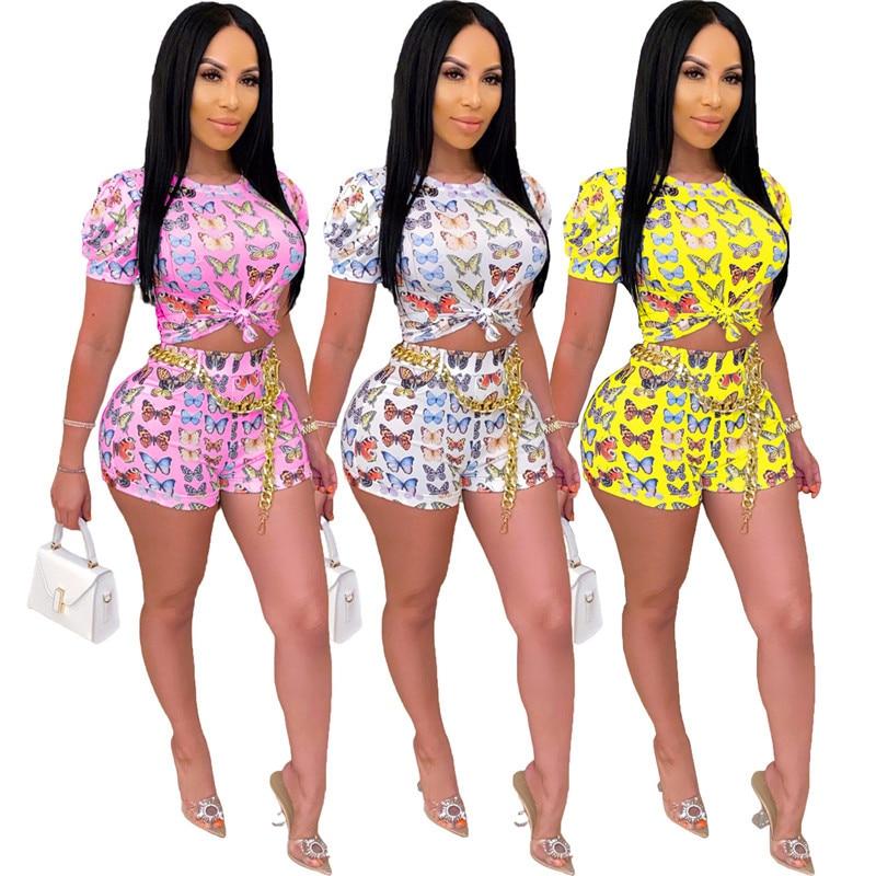 Conjunto 2 peças feminino estampa borboleta, roupas femininas de verão, top cropped e shorts, sexy, bodycon, festa, clube, conjunto combinando mulher