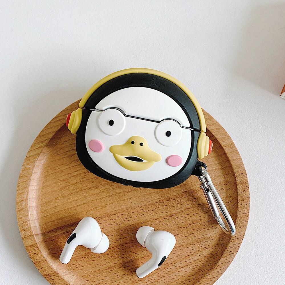 Para AirPods Pro dibujos animados lindo pingüino funda de auriculares para AirPods 1 2 3 Bluetooth funda de auriculares con gancho para Huawei freebolds 3