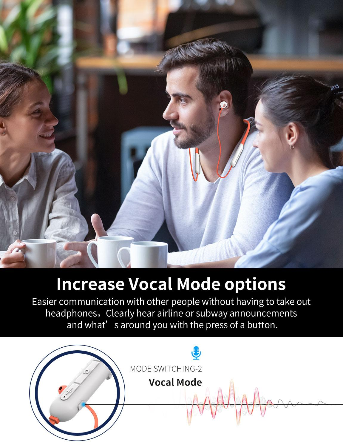 Acitive Noise Cancelling Wireless Neckband Bluetooth Earphones Magnetic Earbuds, Microphone for iPhone and Android enlarge