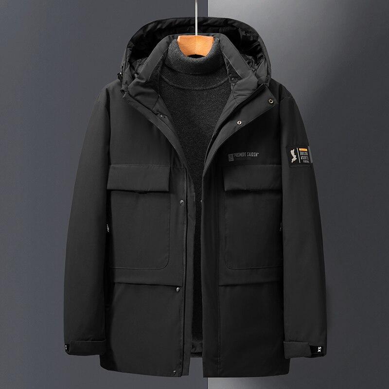 Брендовая зимняя куртка на белом утином пуху, Мужская модная куртка с капюшоном, Мужская Высококачественная Толстая теплая зимняя куртка, М...