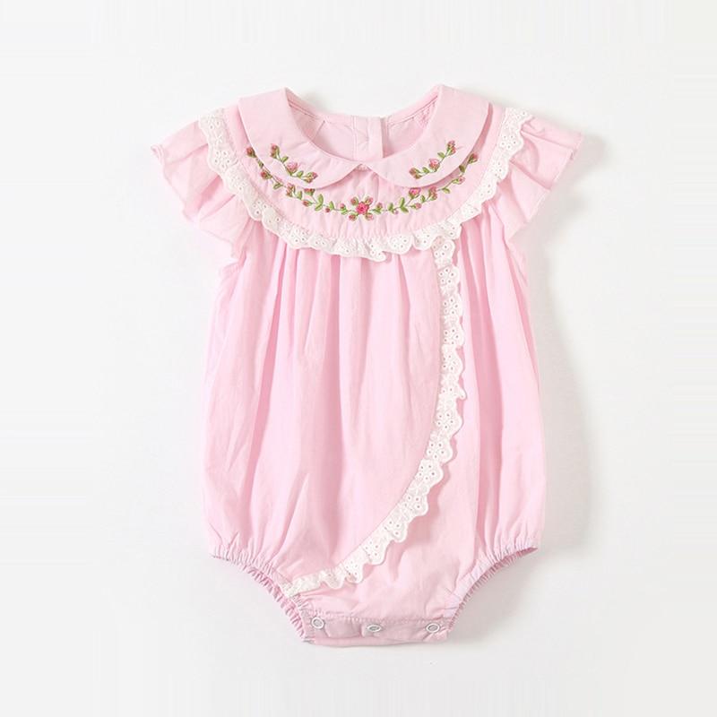 ATUENDO Summer Kawaii Pink Newborn Baby Romper 100% Cotton Fashion Silk Soft Girl's Clothes Cute Sat