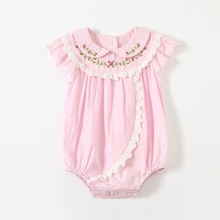 ATUENDO Summer Kawaii Pink Newborn Baby Romper 100% Cotton Fashion Silk Soft Girl's Clothes Cute Sat