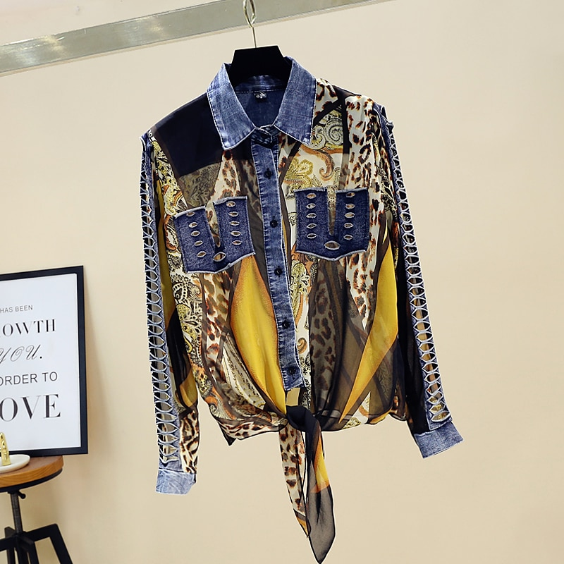 Camisas vaqueras empalmadas de chifón de leopardo, blusas para mujer, novedad de 2020, blusas Retro con contraste de Color, solapa de manga larga, camisas huecas, Tops de mujer geniales