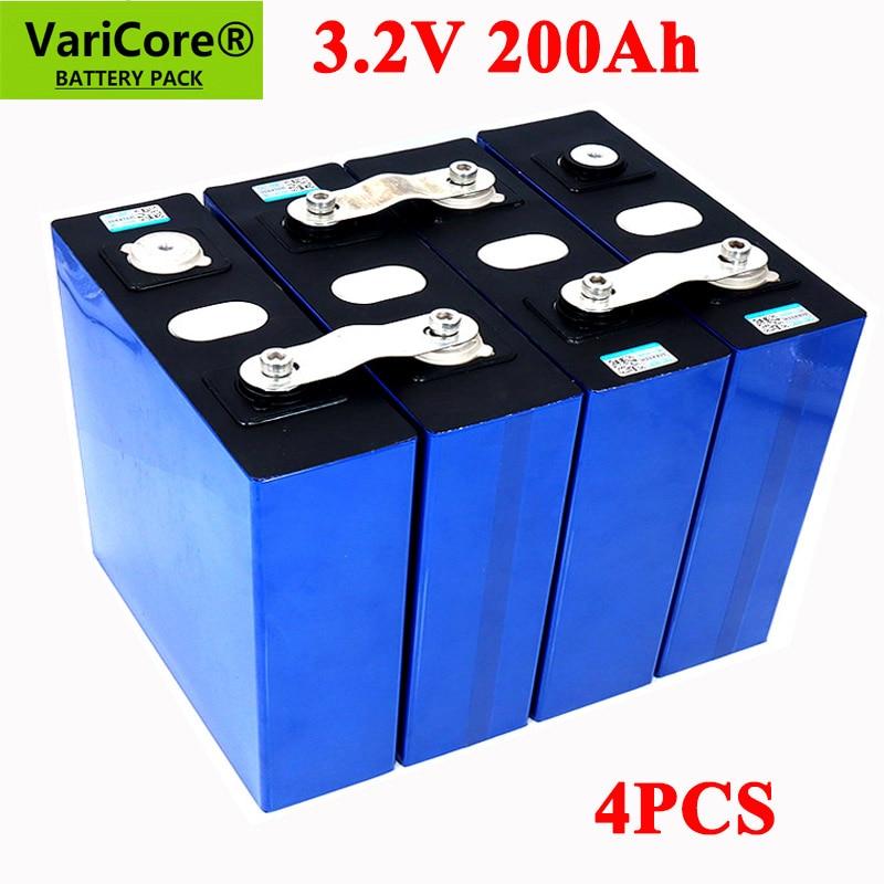 4pcs VariCore 3.2V 200Ah LiFePO4 lithium battery 3.2v 3C Lithium iron phosphate battery for 4S 12V 24V battery Yacht solar RV