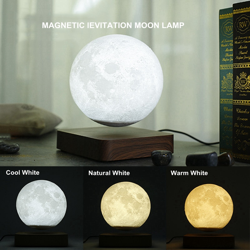 Creative 3D Magnetic Levitation Moon Lamp Night Light 14cm Touch Rotating  Led Moon Floating Lamp Home Decoration Holiday Gifts