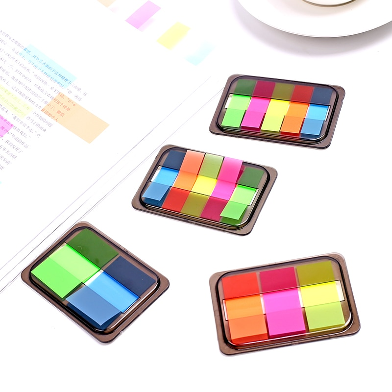 Lindas notas recordatorias adhesivas fluorescentes arcoíris pegatinas para agenda Kawaii para niños regalo escuela Oficina suministros papelería japonesa