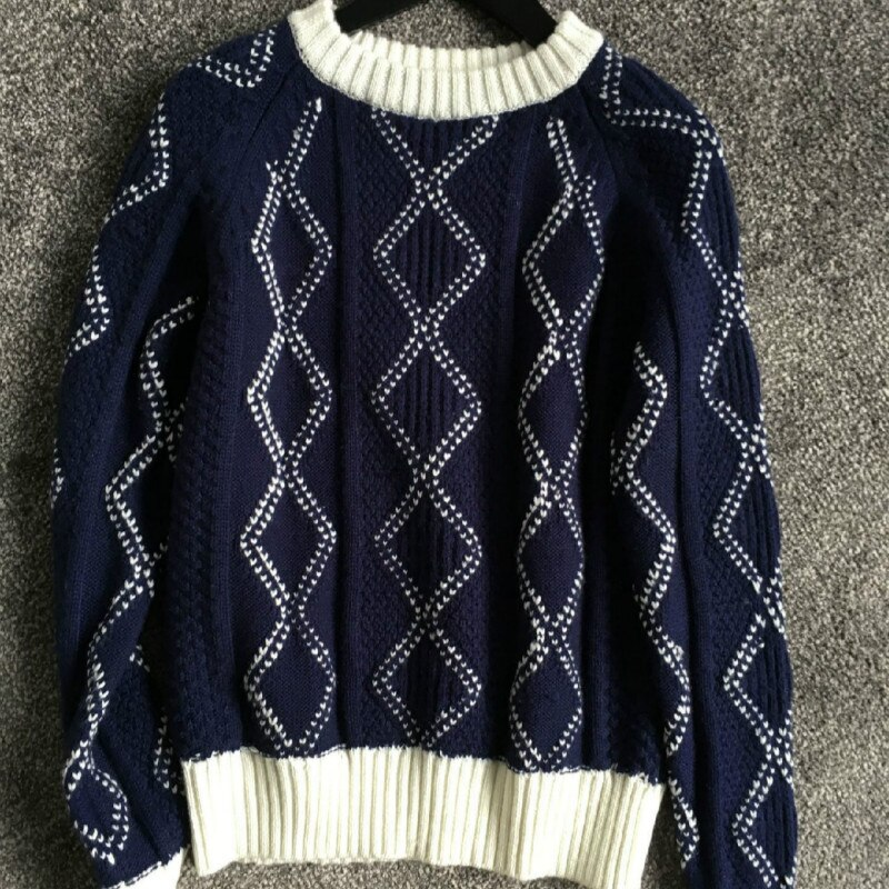Autumn and Winter Stars with The Same Wool Sweater Loose Lazy Wind Thick Pullover Sweater for Women enlarge