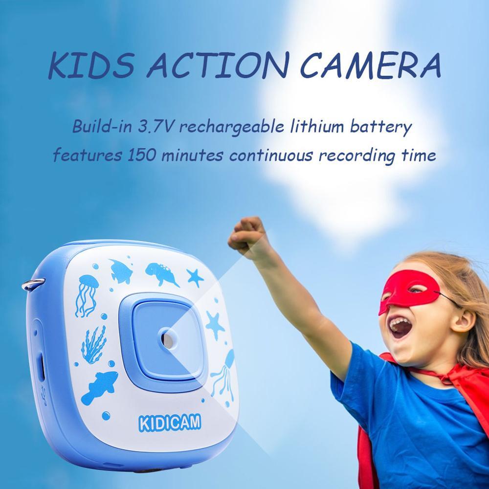 Cámara de estilo de acción para niños 2 pulgadas cámara con pantalla LCD al aire libre niños recargable cámara de vídeo Digital con estuche impermeable