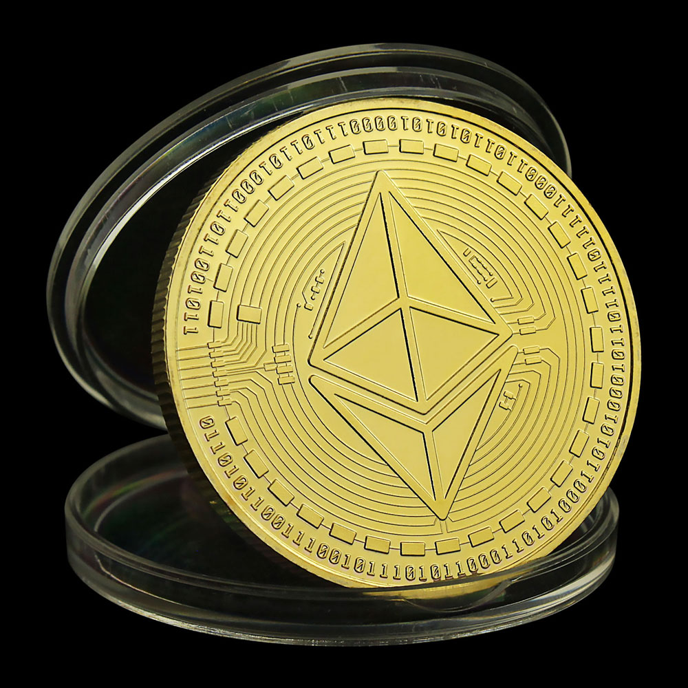 ETH Gold/Sliver Plated Patterned Ethereum Bitcoin Embossed Stereo Digital Currency Coin Physical Commemorative Bit Metal