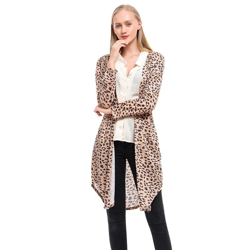 Women Cotton Coat Casual Long Sleeve Elastic Leopard Female Thin Loose