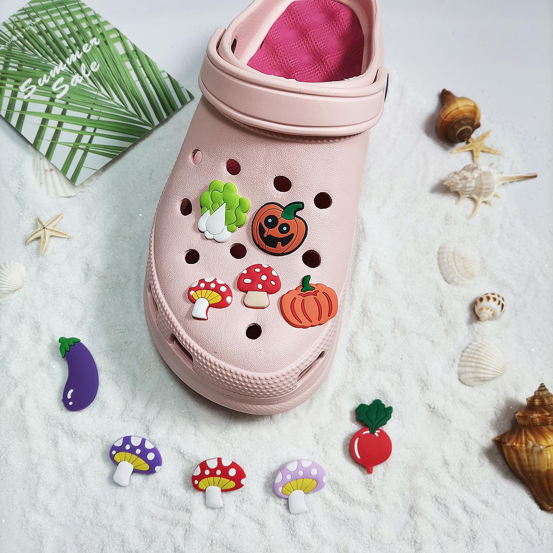 1 шт. Симпатичные Подвески для обуви, Симпатичные овощи, гриб, тыква, баклажаны, пряжка для обуви для детей Croc Jibb, аксессуары для обуви, украше...