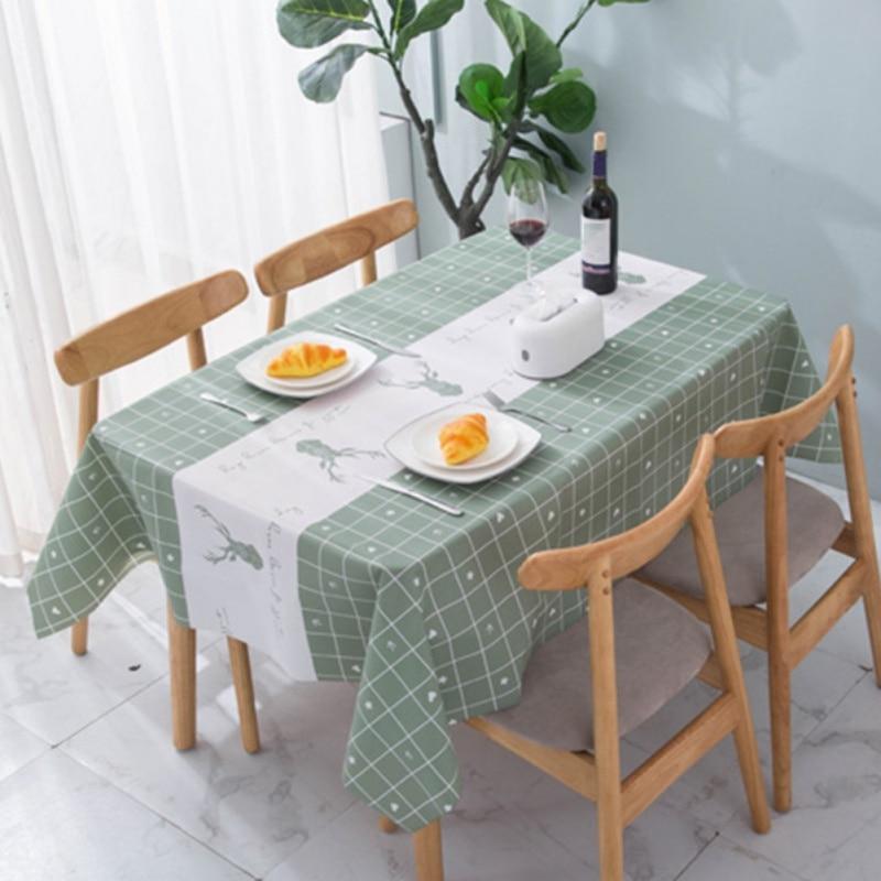 Toalha de mesa à prova doilágua pano oilproof peva retangular grosso casamento jantar mesa capa 1