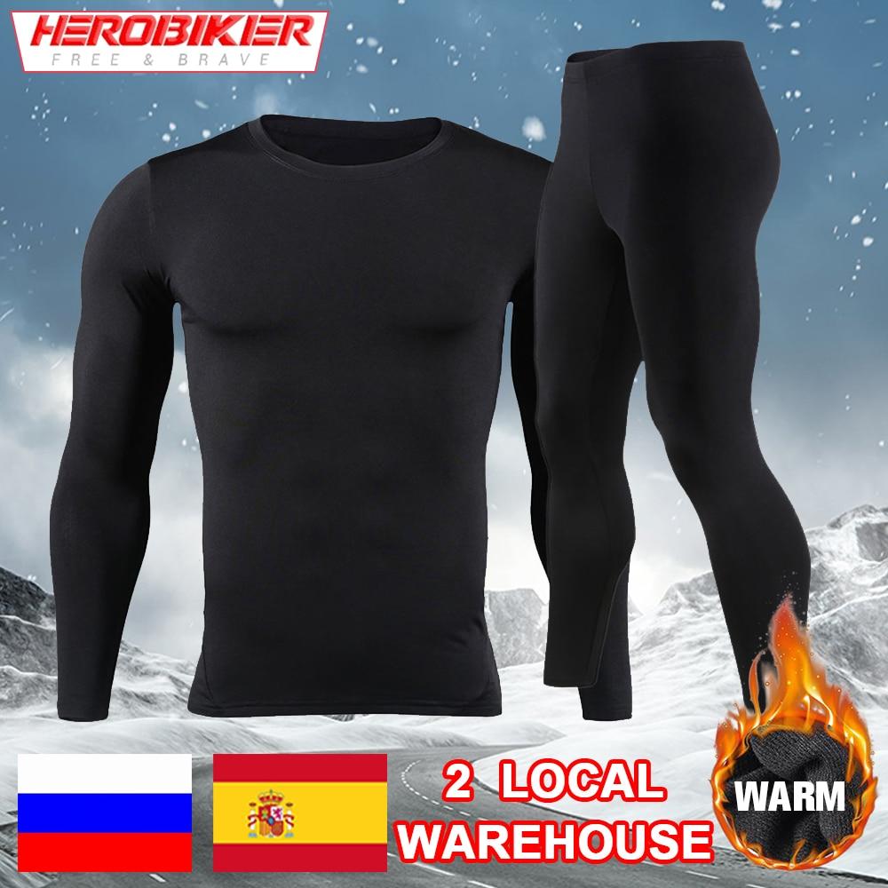 HEROBIKER الرجال صوف مبطن ملابس اخلية حرارية مجموعة دراجة نارية التزلج قاعدة طبقة شتاء دافئ طويل جونز قمصان و القمم أسفل دعوى
