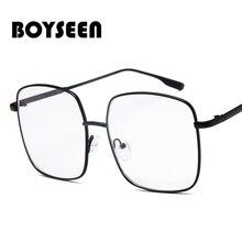 BOYSEEN new anti-blue light metal big frame glasses frame fashion trend flat glasses trend same styl