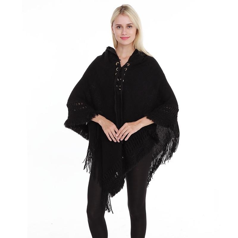 معطف نسائي بغطاء للرأس ، ملابس محبوكة دافئة ، لباس خارجي بجناح الخفاش ، DD2450