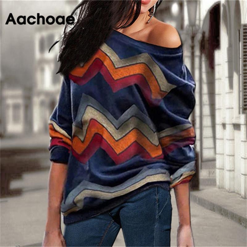Aachoae, blusas para Mujer, Tops con hombros descubiertos, jersey con estampado a rayas, Jersey informal de punto, Top de manga larga, blusa, Camiseta para Mujer