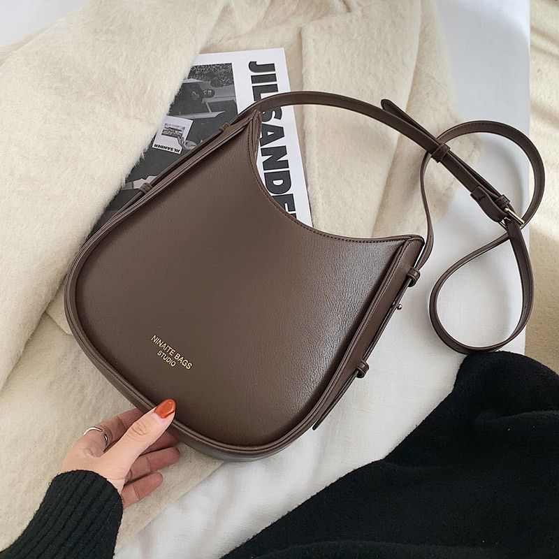 Vintage PU Leather Bucket Bags for Women 2021 Fashion Branded Crossbody Shoulder Hand Bag Lady Trending Handbags and Purses
