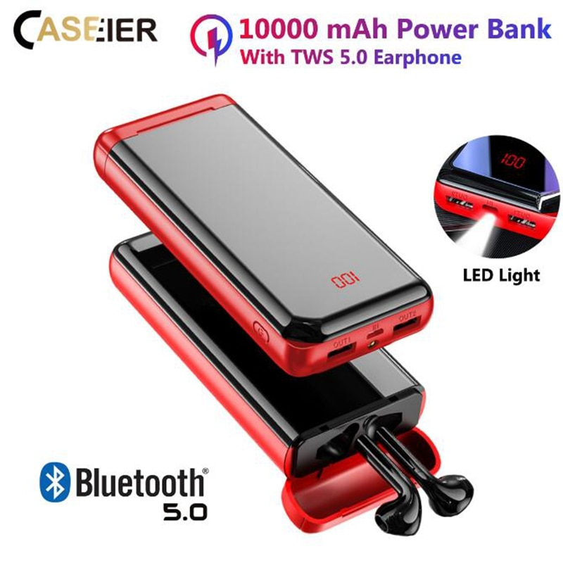 CASEIER 10000 мАч портативный внешний аккумулятор для iPhone 11 Pro Max X XS XR 8 Plus Bluetooth наушники быстрое зарядное устройство Powerbank для Xiaomi
