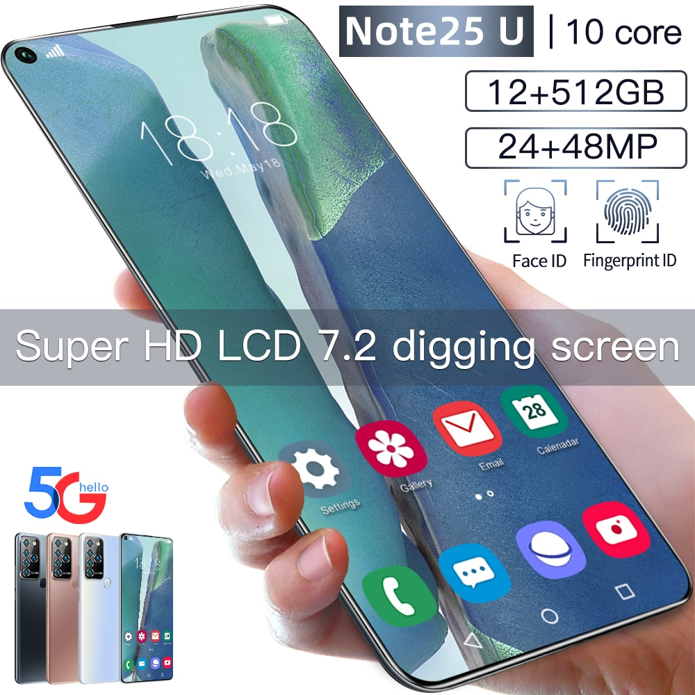 Teléfono Móvil Note 25U, Smartphone con pantalla completa de 7.2HD, so Android,...