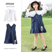 girls white blouses vintage wash denim pinafore jumpsuit suspender shortall bib pocket spring and autumn skirts 3 16 years