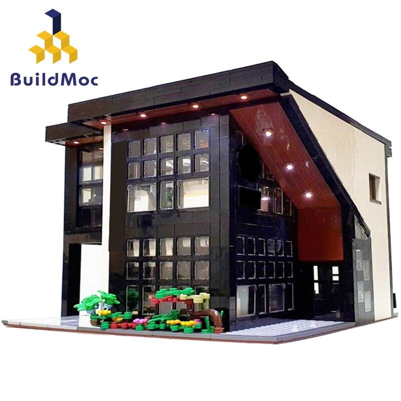 BuildMOC город МОС Streetview серия кирпичная Современная кафе модульная модель почта Модульные строительные блоки кирпичи игрушки подарок