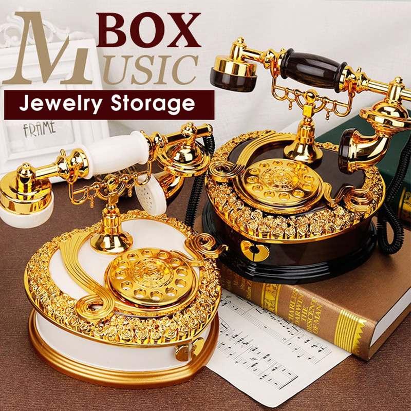 Rétro cadran téléphone boîte à musique boîte à bijoux tiroir de rangement décoration de la maison enfants jouet cadeaux danniversaire ornements de noël