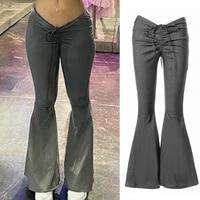 flared pants drawstring low waist vintage elastic women long pants for party women long pants