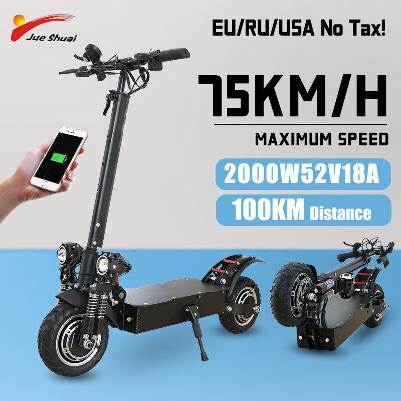 Scooter Eléctrico 52V Ebike adultos gran rueda Patinete Electrico 1600W/2000W Escooter plegable...