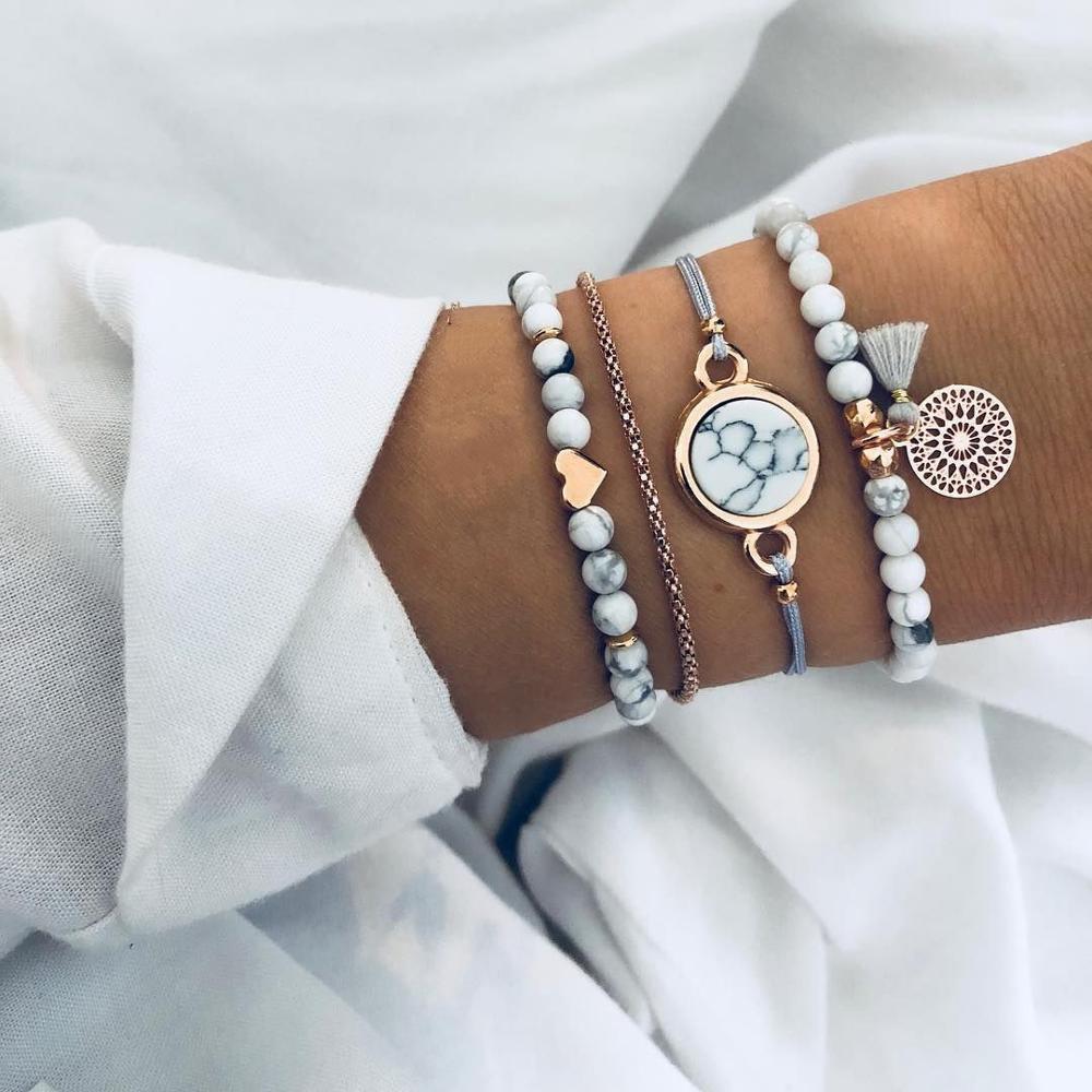 4pcs/Set Bohemian Stone beads chains bracelets Set For Women Metal Heart Round Tassel charm Bangle F
