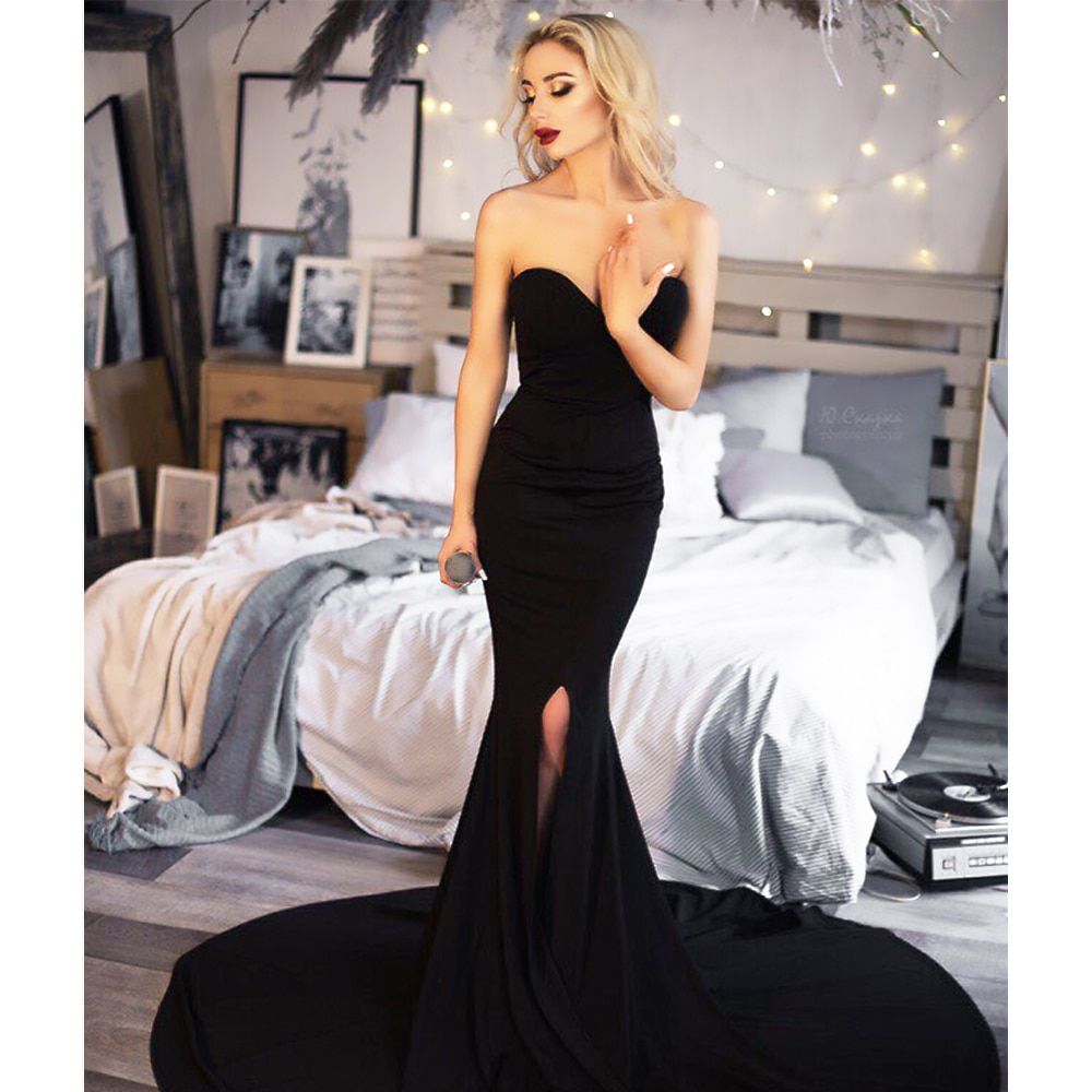 Black Red Evening Gown Dress Strapless Split Leg Floor Length Robe Prom Dresses Stretch Wedding Party Cocktail Padded Mermaid