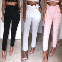 Formal Female High Waist Pencil Pants Women Casual Elegant Pockets Pants Solid Skinny Trousers Botto