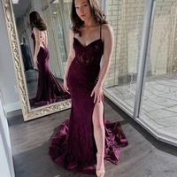 romantic lace prom dresses mermaid spaghetti straps criss cross open back sexy high slit formal dress evening gown