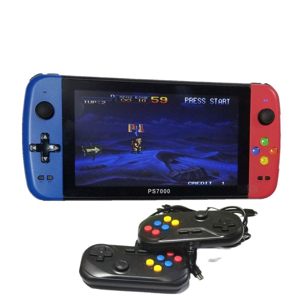 PS7000/Q900 7 بوصة المحمولة لعبة وحدة التحكم مع 2 جيم ب 64/128GB 5000 ألعاب مجانية 100 ps1 ألعاب ل مامي/CPS/SegaMD