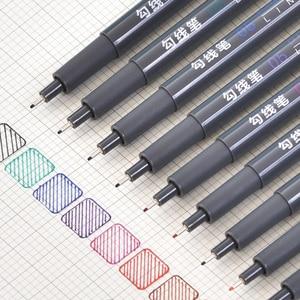 6pcs/set Micron Pen Set Colored Sketch Marker Pens for Drawing Markers Fineliner School Art Supplies 01 03 05 08 20 Brush Pens