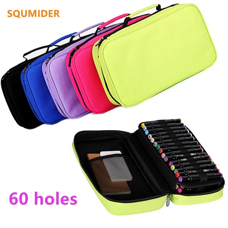 60 hole Removable Portable pencil case Marker pen case canvas pencil bag Watercolor Art student pen