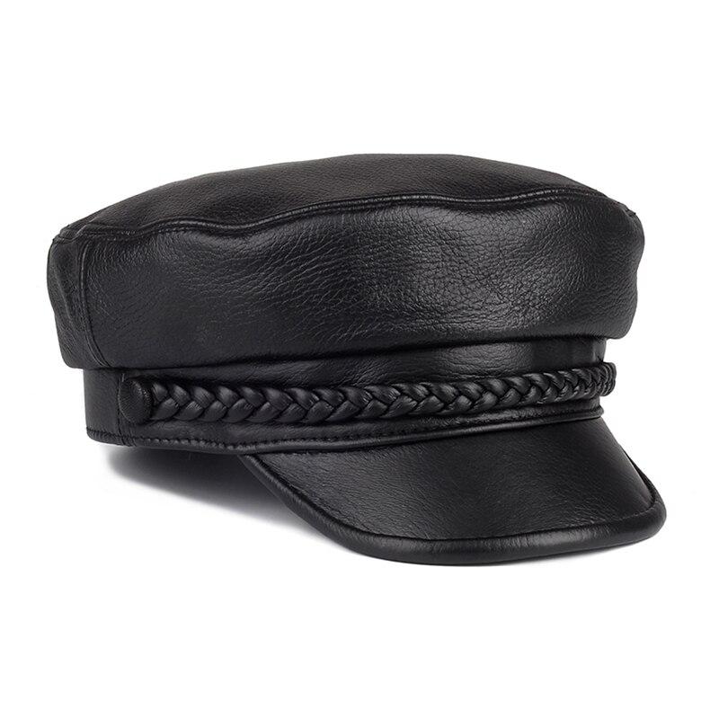 موضة النساء الرجال الجلد الحقيقي قبعة عسكرية قبعات بحار الأسود السيدات قبعة بيريه صوف شقة قبّعة قبّعة السفر كاديت مثمنة قبعة
