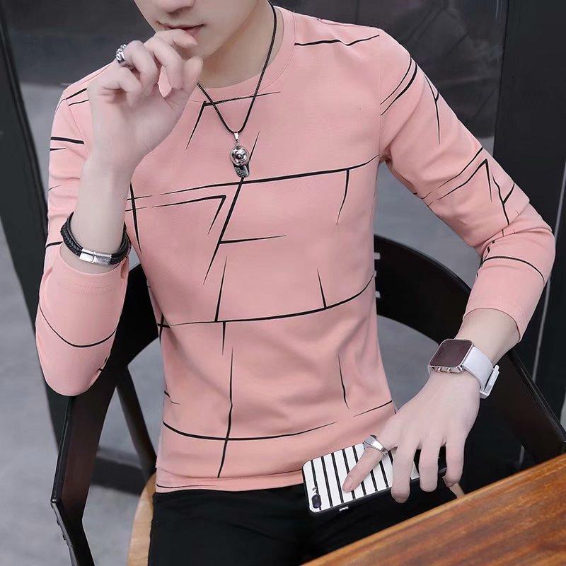 T Shirt Men Autumn Winter Men Long Sleeve T-shirt Stripe Shirt New Tshirt T Shirts O-Neck Casual Pink White Black