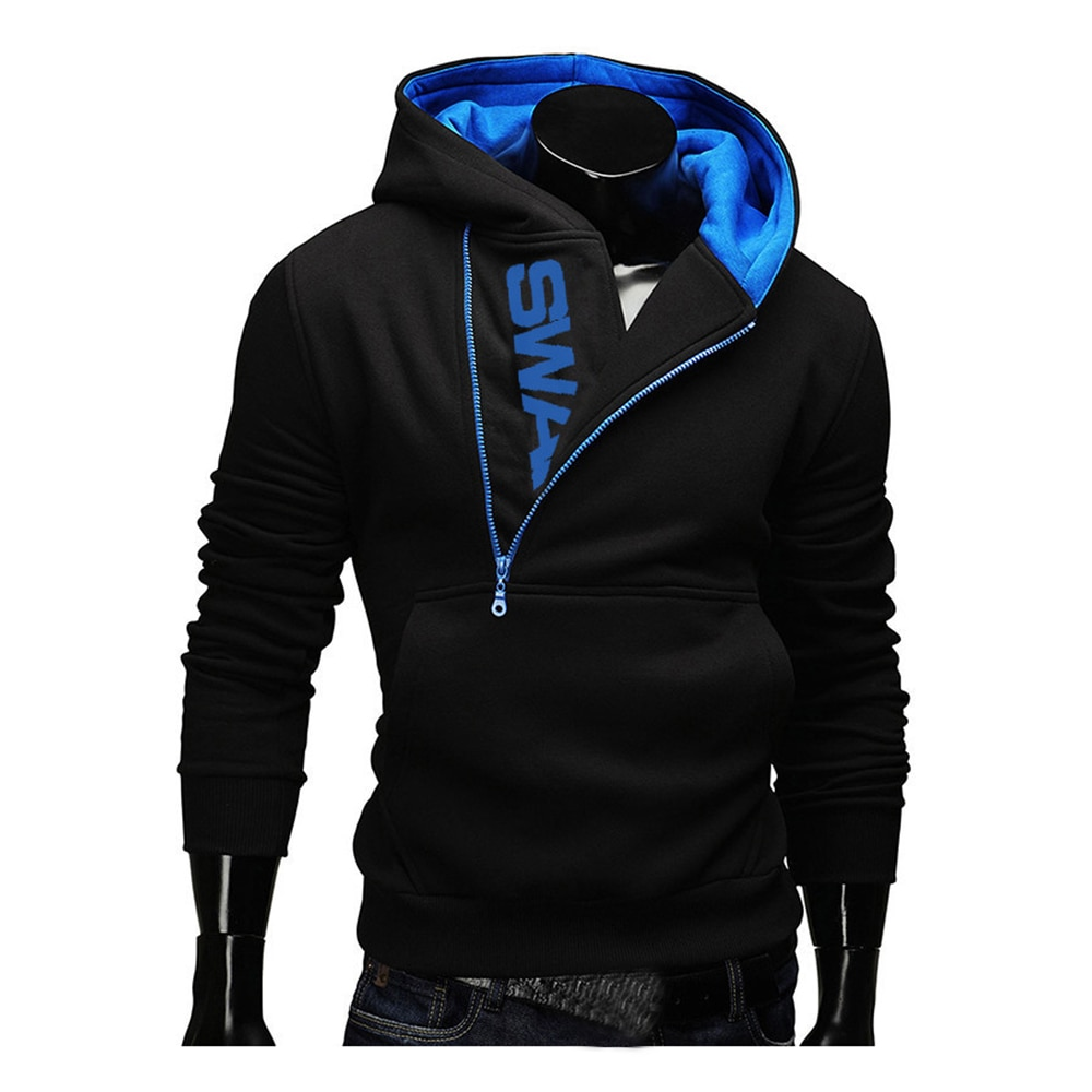 Hoodies Laamei Männer Mode Schrägen Zipper Patchwork Trainingsanzug Sweatshirt männer Kragen Kappe Langen Ärmeln Pullover Plus Größe M-3XL