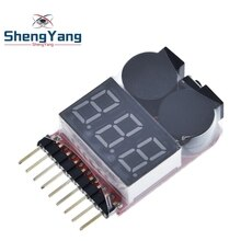 F00872 Lipo Battery Voltage Tester Volt Meter Indicator Checker Dual Speaker 1S-8S Low Voltage Buzzer Alarm 2in1 2S 3S 4S 8S