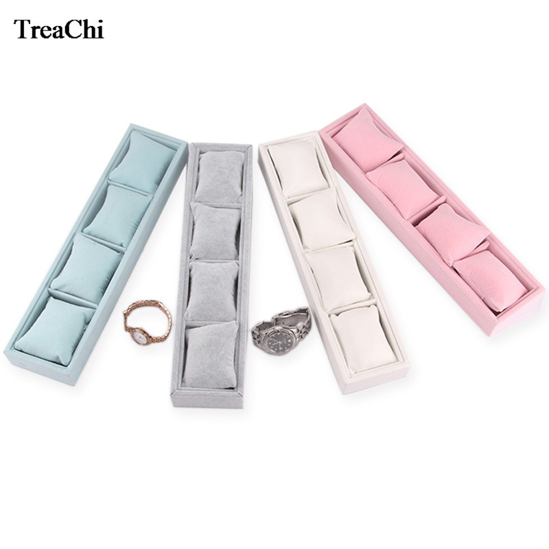 Jewelry Pillow Display Prop Watches Bracelet Showcase Watch Tray Bracelet Tray 4 Grids Jewelry Display Box Bracelet Display ice gray bracelet watch storage box display stand dust proof glass transparent watch box display props small pillow wholesale